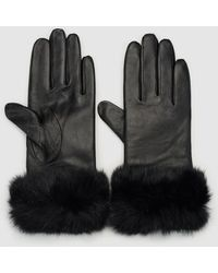 Gloria Ortiz Black Leather Gloves With Natural Fur Cuffs