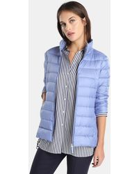 Zendra El Corte Inglés - El Corte Inglés Zendra Short Blue Quilted Coat - Lyst