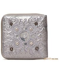 Desigual Majestic Mini Silver Wallet With Zip And Studs - Metallic