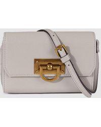 El Corte Inglés Light Grey Mini Crossbody Bag With Several Inside Card Holders - Gray