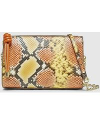 Gloria Ortiz Joanne Small Two-tone Orange And Yellow Snakeskin Print Leather Crossbody Bag - Multicolour