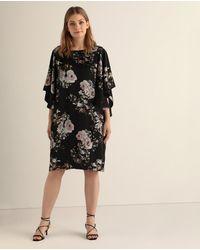 Couchel Plus Size Short Floral Dress - Black
