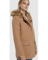 Green Coast Wo Hooded Duffle Coat With Fur - Natural