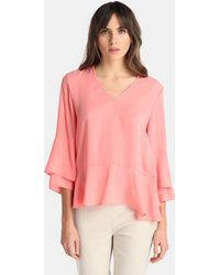 Yera - Pink Blouse With Frills - Lyst