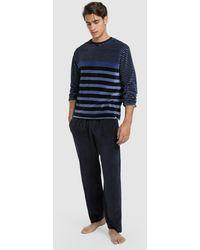 Punto Blanco Mens Long Blue Knit Pajamas