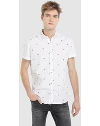 Green Coast - White Printed Slim-fit Shirt - Lyst