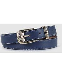 El Corte Inglés Cinturón De Mujer De Piel Azul Con Hebilla Labrada