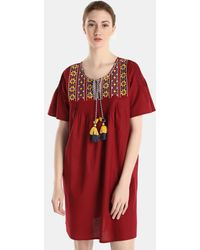 El Corte Inglés - Maroon Cotton Kaftan With Embroidery - Lyst
