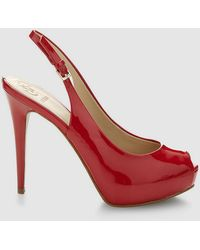Guess - Red Slingback Peep-toes - Lyst