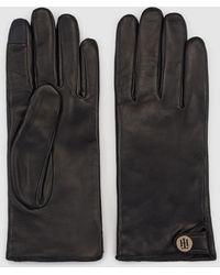Tommy Hilfiger Black Leather Gloves With Fastener