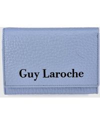 Guy Laroche - Small Blue Grained Leather Wallet With Fastener - Lyst