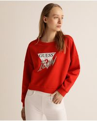 Guess Wo Cropped Oversized Sweatshirt - Red