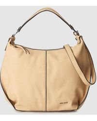 Pepe Moll Camel Hobo Bag With Contrasting Topstitching - Natural