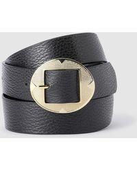 El Corte Inglés Cinturón Reversible De Mujer En Negro Con Hebilla Ovalada