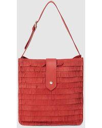 Gloria Ortiz Sandy Red Leather Hobo Bag With Fringe