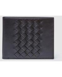 El Corte Inglés Black Leather Wallet With Plaiting