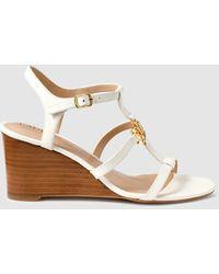 Lauren by Ralph Lauren White Leather Wedge Sandals