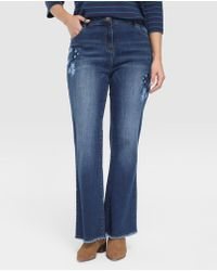 Couchel - Plus Size Flared Jeans With Embroidered Flowers - Lyst