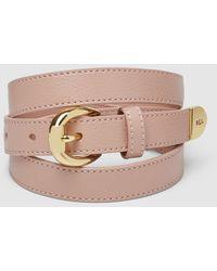 Lauren by Ralph Lauren Pink Leather Belt With Logo Detail