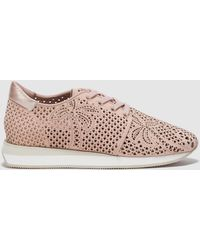 Lola Cruz | Natural-colour Leather Trainers With Die-cut Detail | Lyst