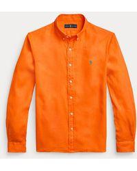Polo Ralph Lauren Camisa De Hombre De Manga Larga Regular - Naranja