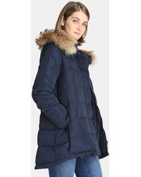 Zendra El Corte Inglés - El Corte Inglés Zendra Long Quilted Coat With A Raccoon Fur Collar - Lyst