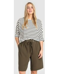 Couchel Plus Size Loose-fitting Bermuda Shorts With Stretch Waist - Natural