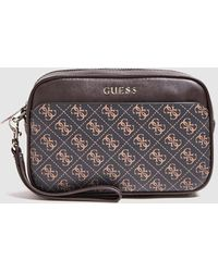 Guess Brown Brand Print Toiletry Bag - Multicolor