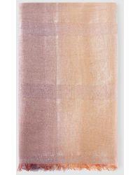 Emporio Armani Rectangular Multicoloured Degradé Linen And Modal Foulard - Multicolor