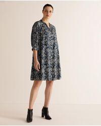 Couchel Plus Size Paisley Print Shirt Dress - Blue