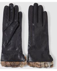 El Corte Inglés Black Leather Gloves With Fur Cuffs