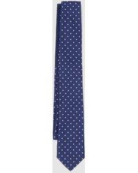Tommy Hilfiger Red Polka Dot Print Silk Tie - Blue