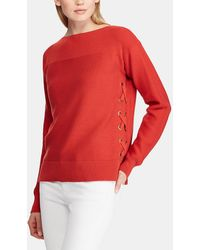 Lauren by Ralph Lauren Boat Neck Sweater With Lace-up Ties - Red