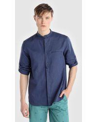 Green Coast - Plain Navy Blue Slim-fit Shirt - Lyst