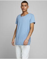 Jack & Jones - Camiseta De Hombre Azul De Manga Corta - Lyst