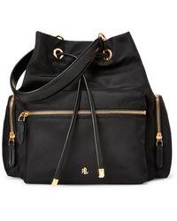 Lauren by Ralph Lauren Debby Medium Black Nylon Bucket Bag