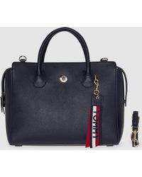 Tommy Hilfiger Navy Blue Handbag With A Brand Charm