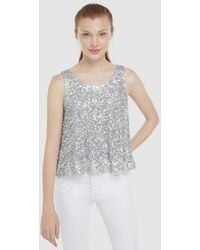 Green Coast Wo Top With Silver Sequins - Metallic