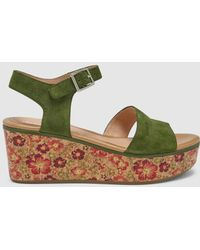 Stonefly - Green Printed Wedge Sandals - Lyst