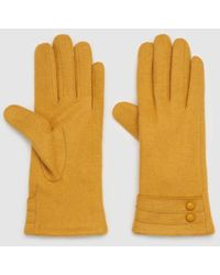 El Corte Inglés Mustard Wool Gloves With Buttons - Yellow