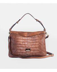 Robert Pietri Brown Hobo Bag With Mock-croc Embossing And Long Detachable Strap
