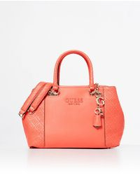 Guess Holly Coral Handbag With Side Logo Embossing - Pink