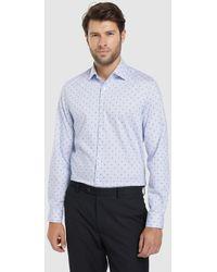 Calvin Klein Camisa Fácil Plancha De Hombre Regular Estampada Azul