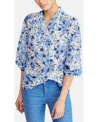 Lauren by Ralph Lauren - Printed Blouse With Belled Sleeves - Lyst