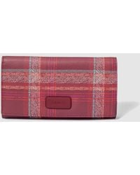 Jo & Mr. Joe - Large Burgundy Checked Wallet With Flap - Lyst