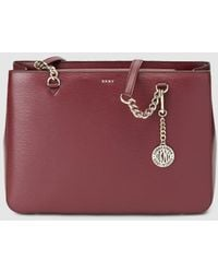 DKNY - Burgundy Leather Shoulder Bag With Inner Pockets - Lyst