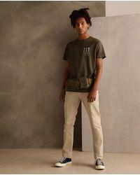 Green Coast Mens Beige Slim-fit 5-pocket Trousers - Natural