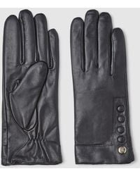 Guess Black Leather Gloves With Buttons