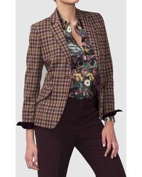 Mirto - Check Print Blazer With Contrasting Elbow Patches - Lyst