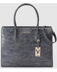 Valentino Bolso De Mano Grande En Gris Oscuro Con Grabado Coco - Negro
